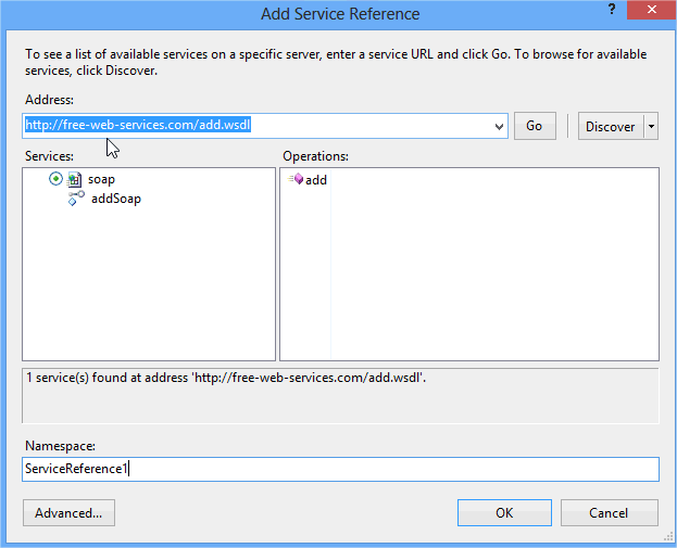 Screenshot Add Service Reference dialog