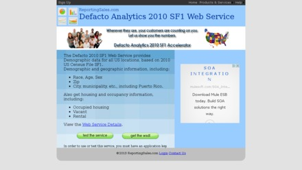 Defacto Analytics 2010 SF1 Web Service