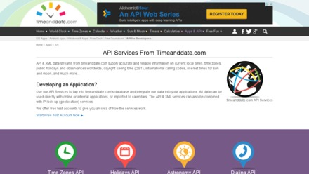 API Services From Timeanddate.com
